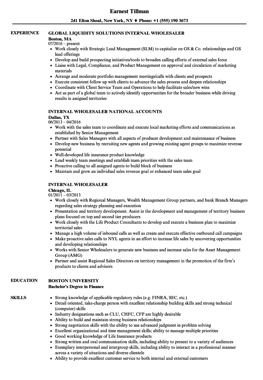 Internal Wholesaler Resume Samples  Velvet Jobs