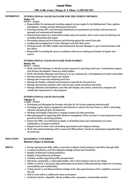 Sample Resume International Marketing Manager