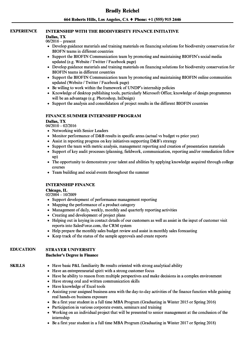 Internship Finance Resume Samples Velvet Jobs