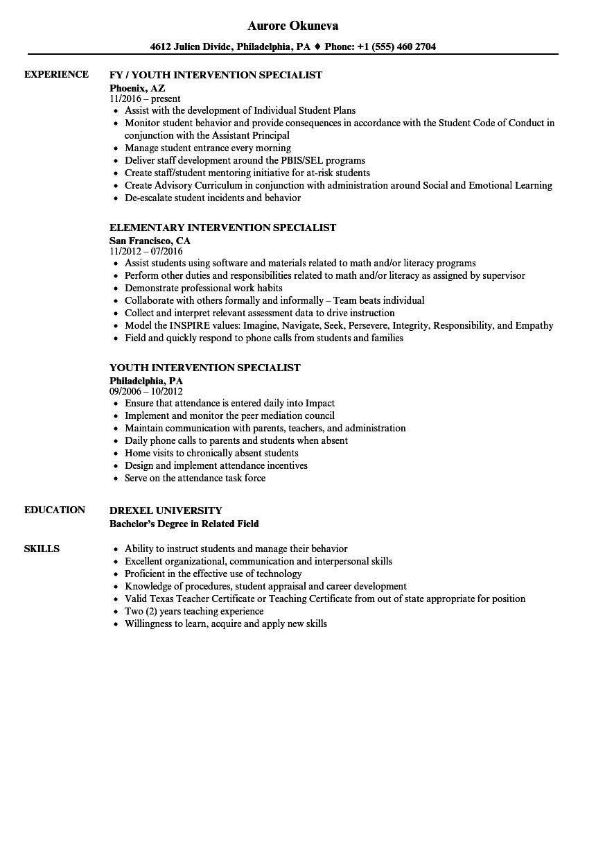 sample resume for behavior interventionist