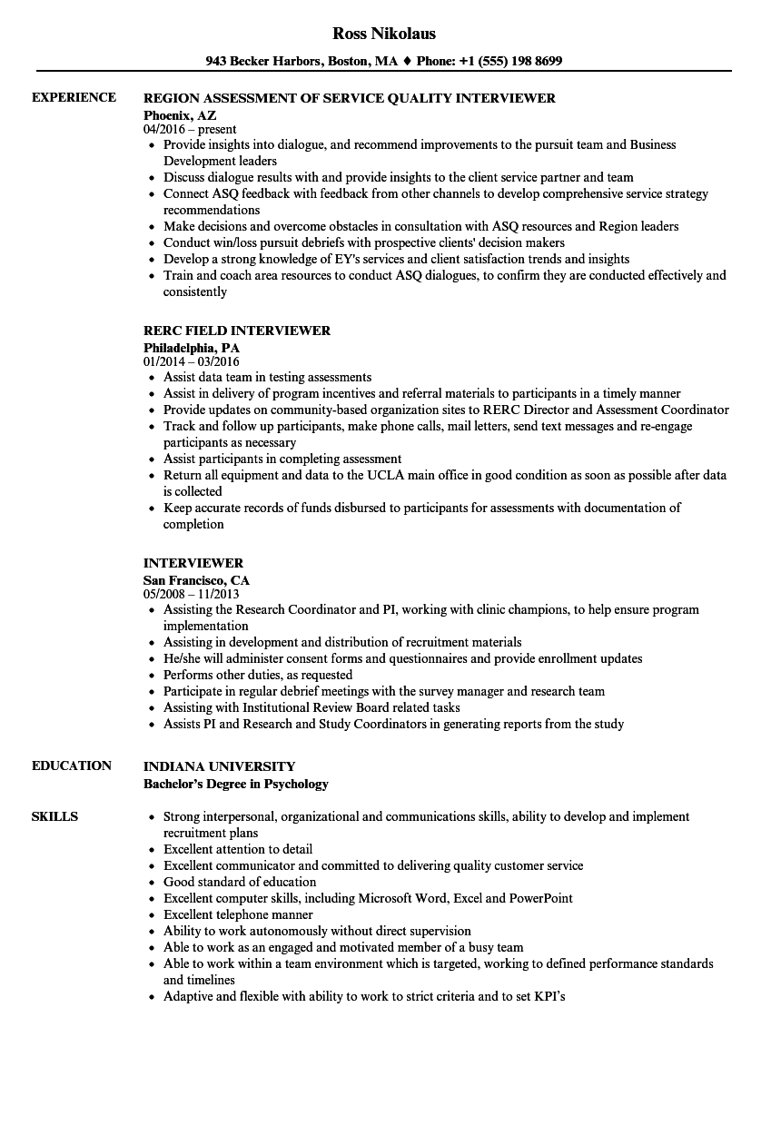 Interviewer Resume Samples Velvet Jobs