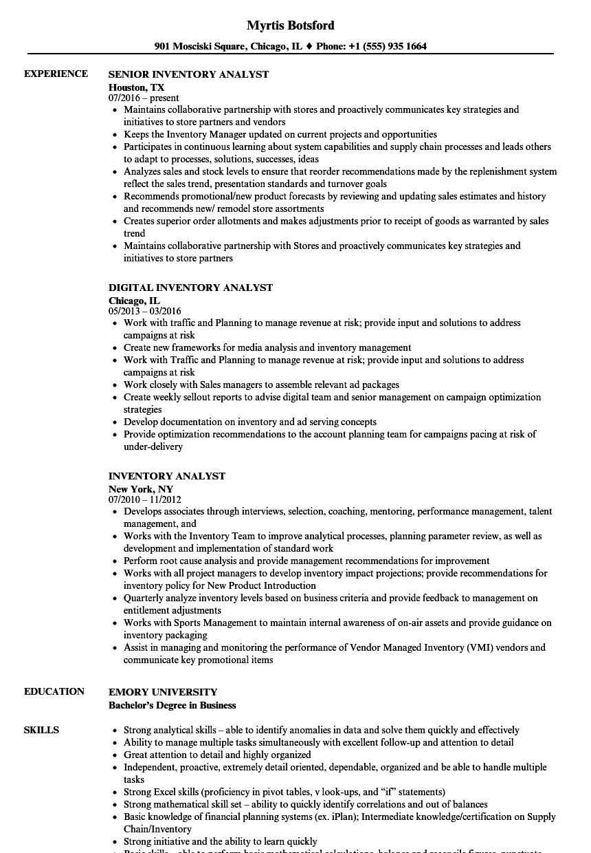 Inventory Analyst Resume Samples  Velvet Jobs