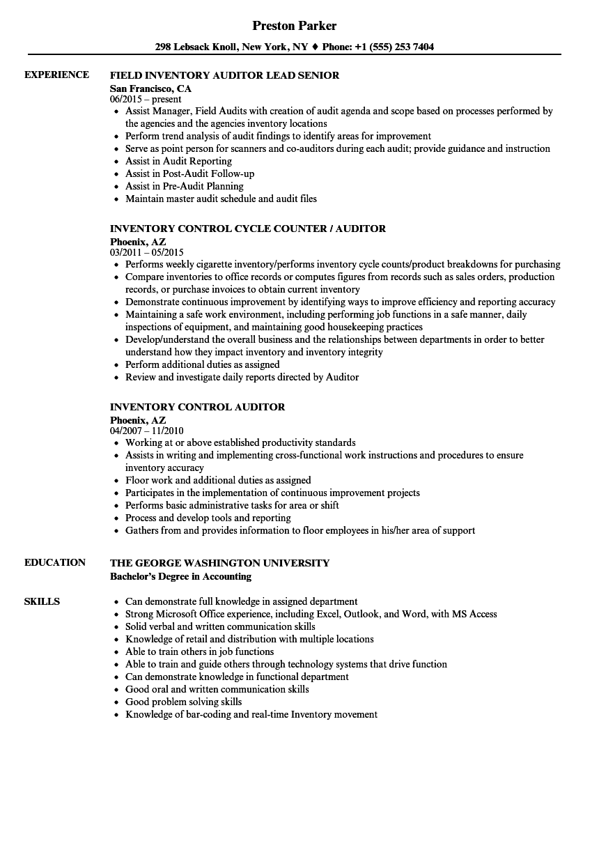 Inventory Auditor Resume Samples Velvet Jobs