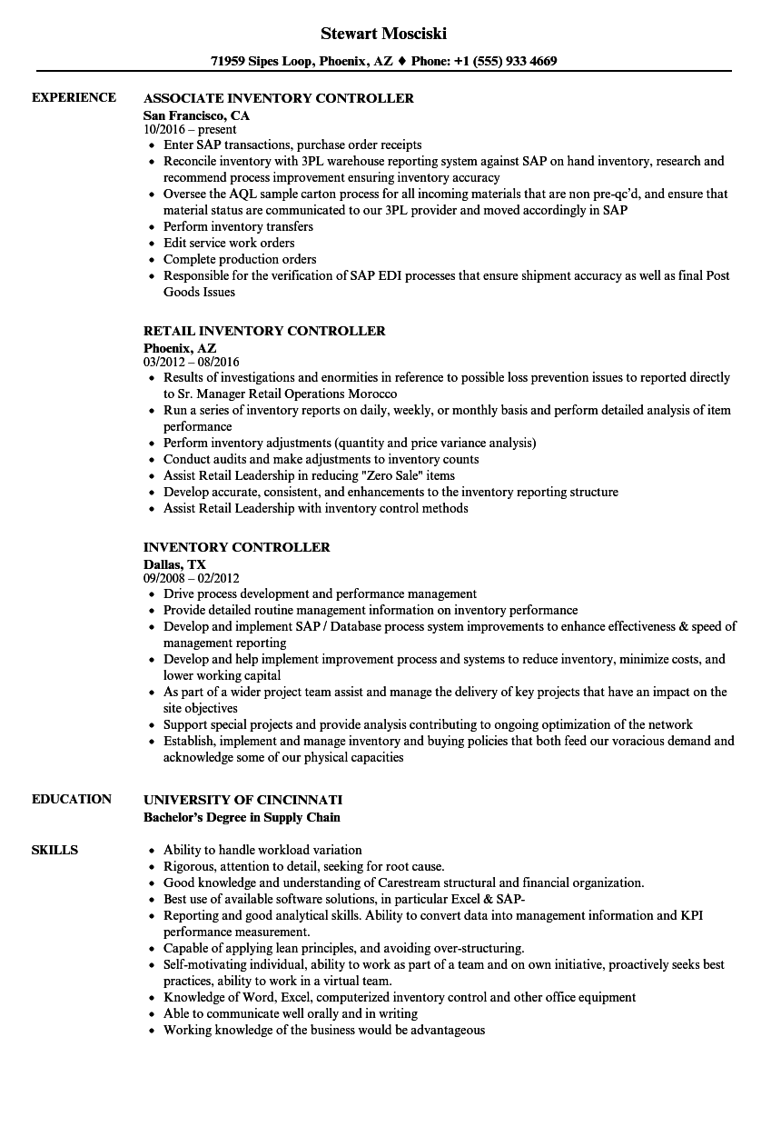 inventory controller sample resume