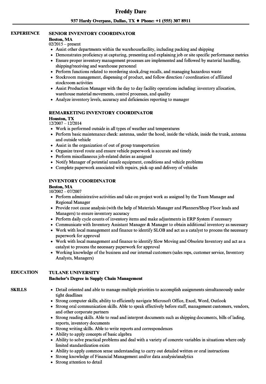 food coordinator resume sample