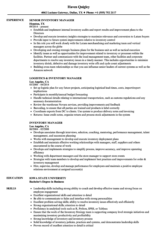 Inventory Manager Resume Samples | Velvet Jobs