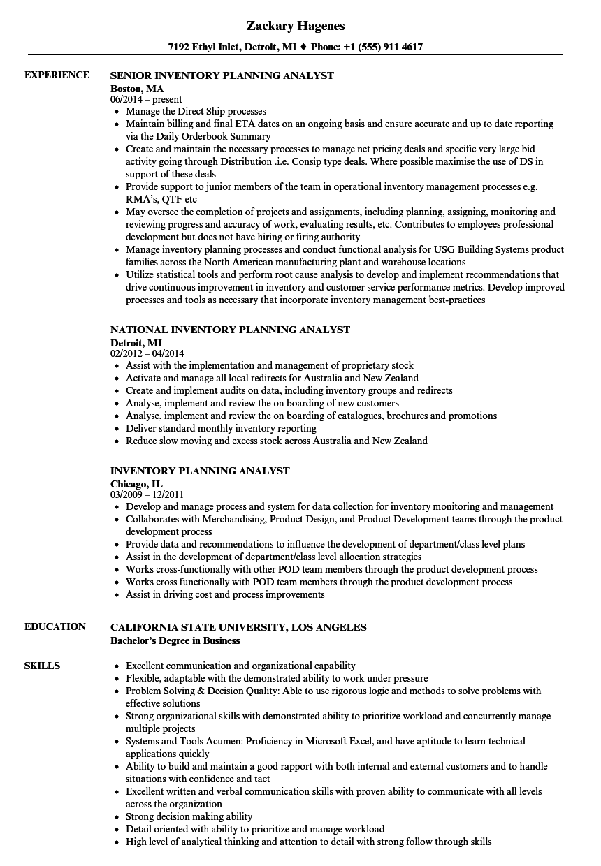 sample inventory analyst resume