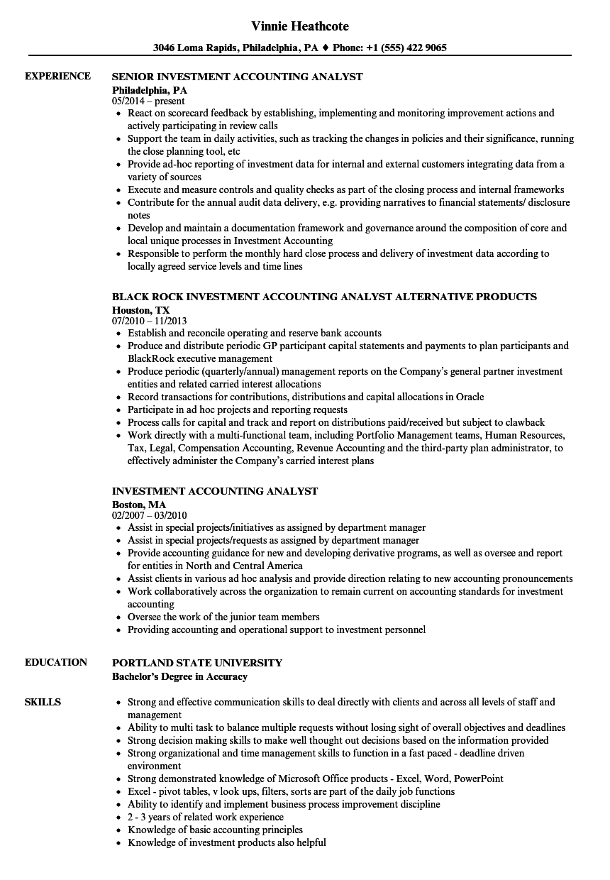 Investment Accounting Analyst Resume Samples Velvet Jobs