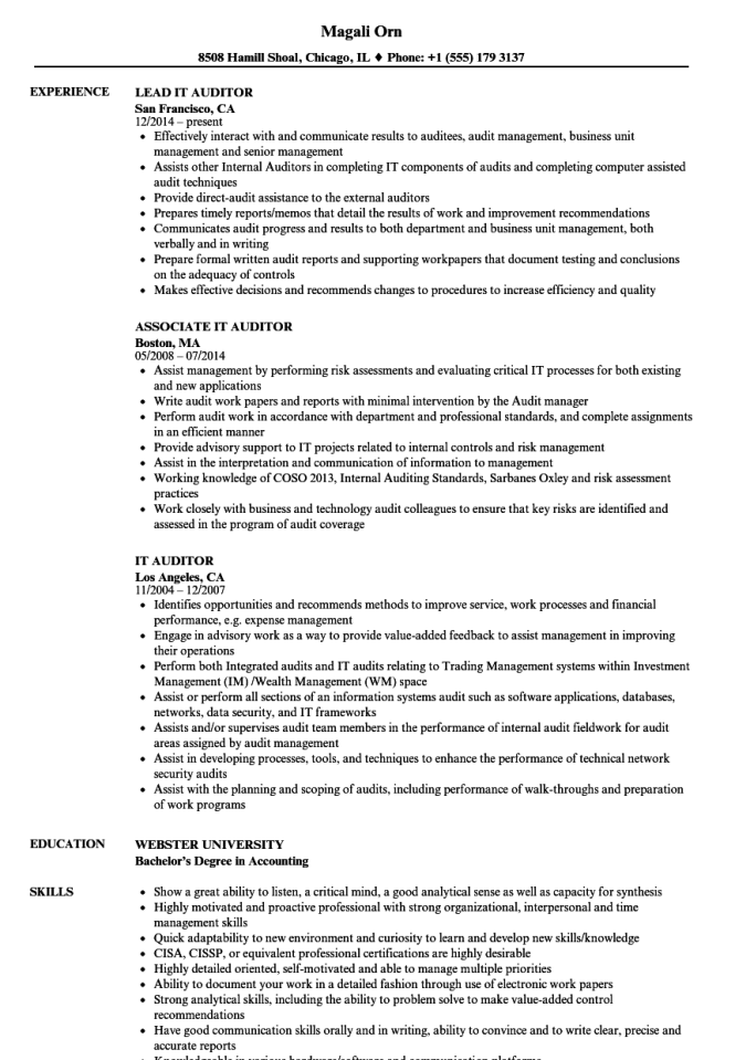 compliance auditor resume
