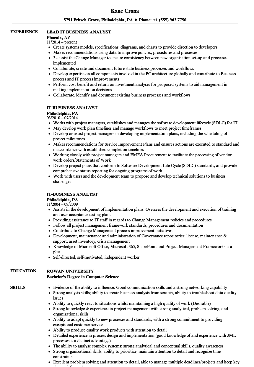 It Business Analyst Resume Samples Velvet Jobs
