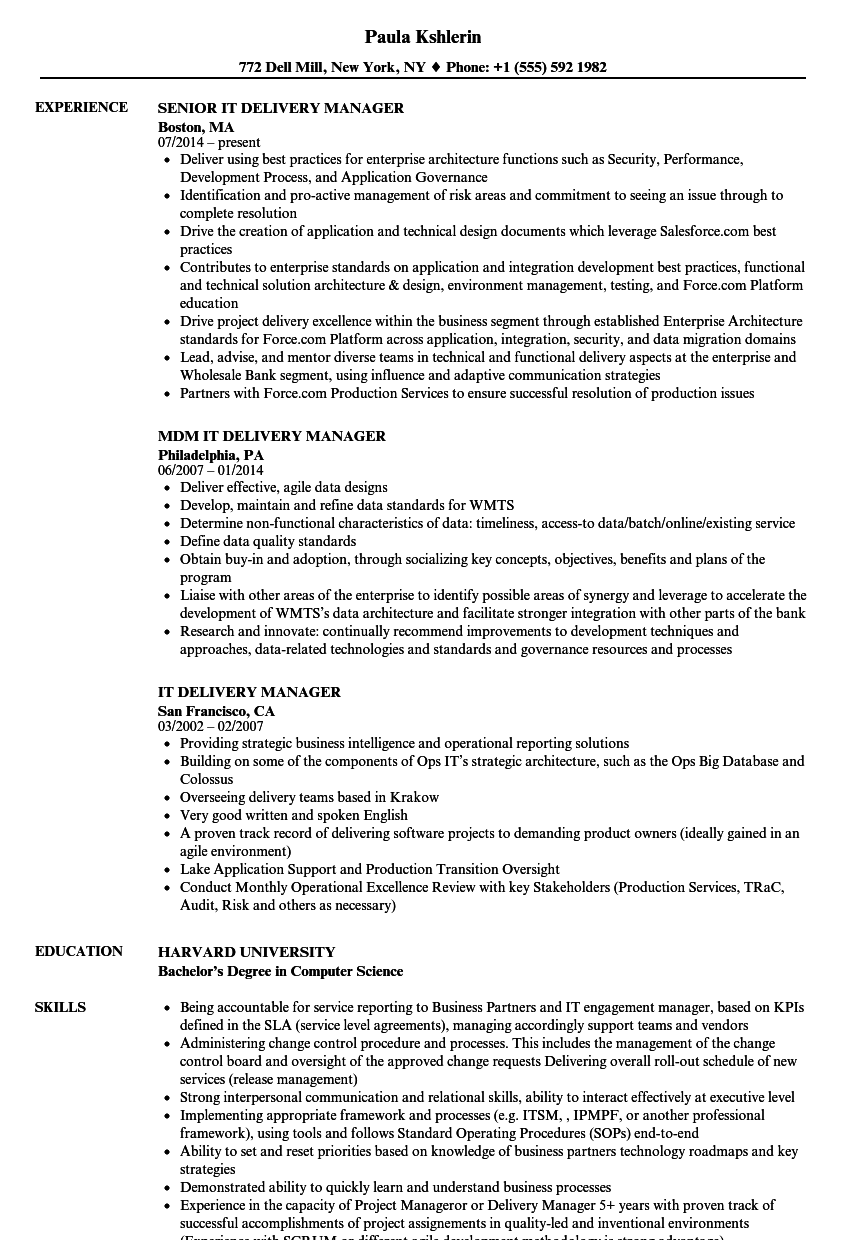 it service delivery manager resume template