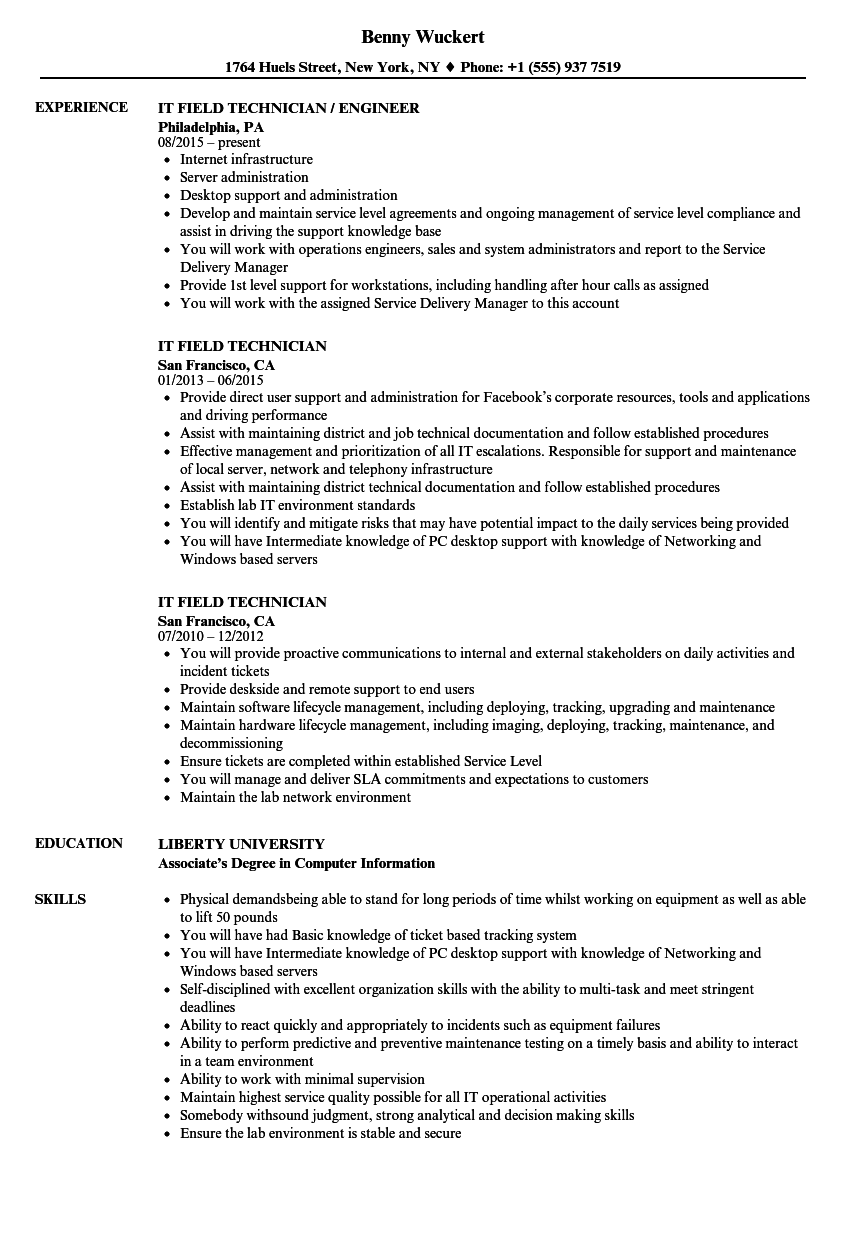 IT Field Technician Resume Samples Velvet Jobs