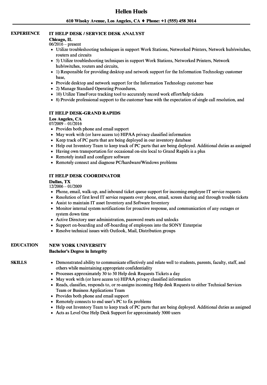 resume examples for help desk job