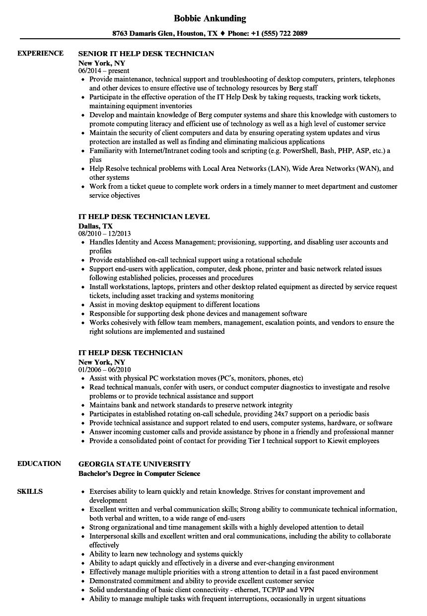 Download It Help Desk Technician Resume Sample As Image File