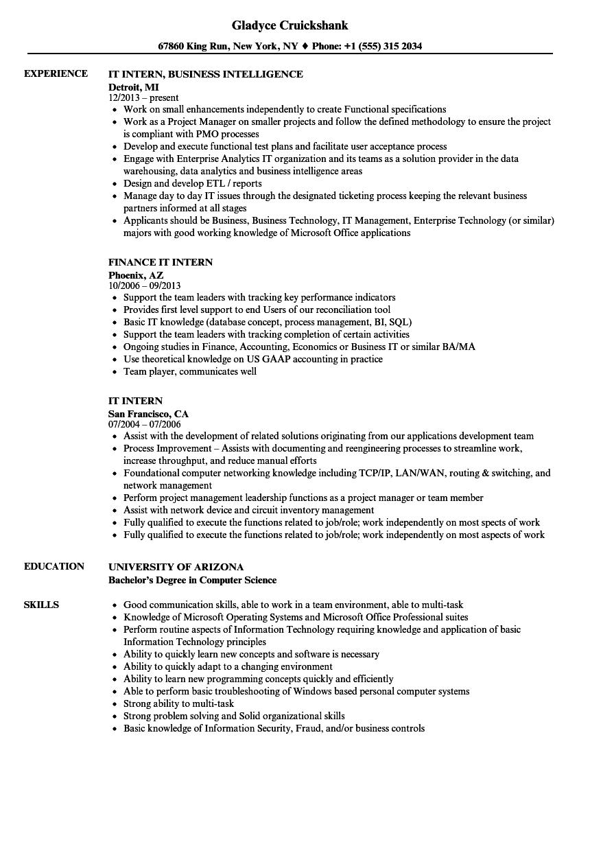 it internship resumes