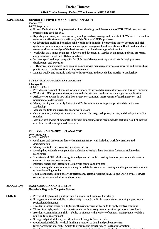 itsm resume sample