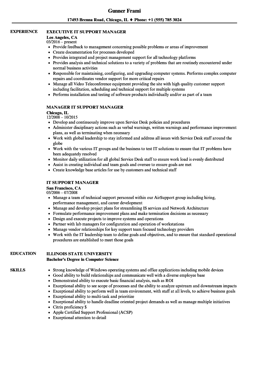technical support manager resume