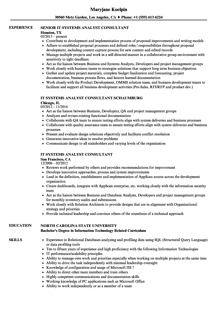 IT Systems Analyst Consultant Resume Samples | Velvet Jobs