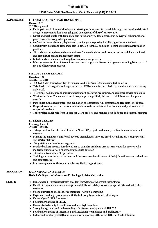 sample resume for team leader in software