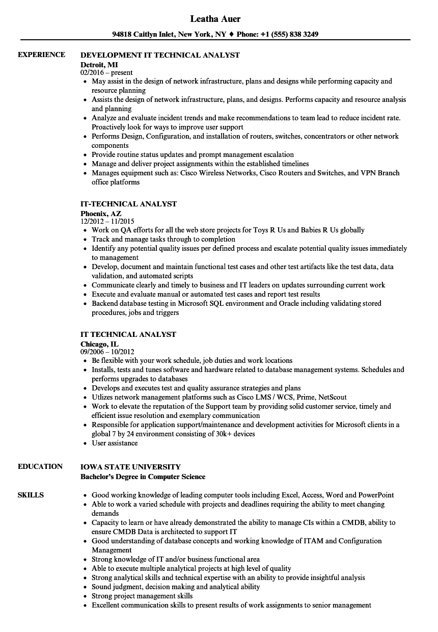 technical support analyst resume