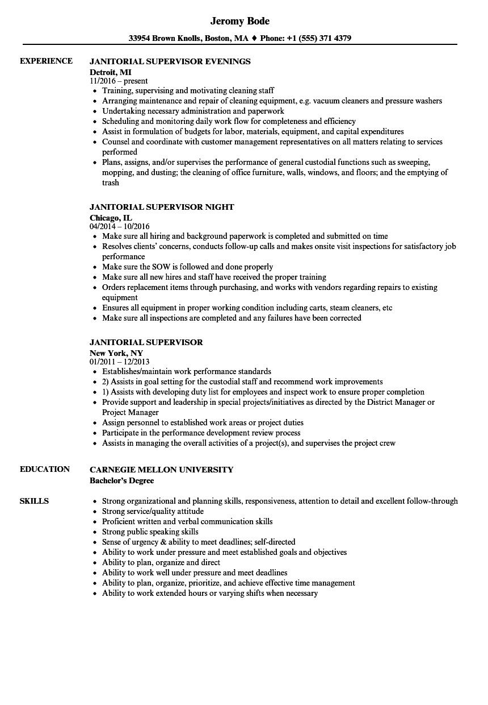 janitorial supervisor resume sample