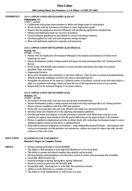 java j2ee resume sample