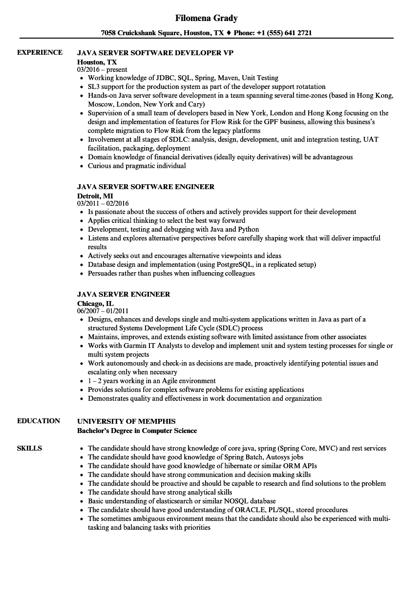 java production support resume sample