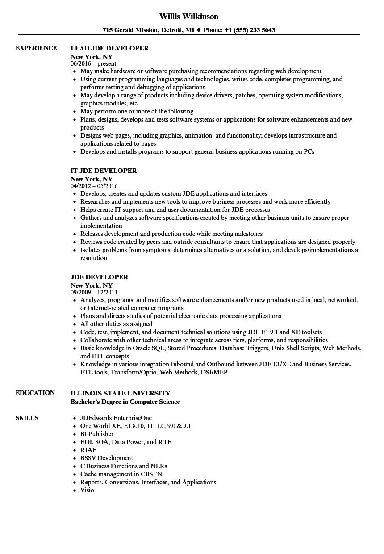 JDE Developer Resume Samples | Velvet Jobs