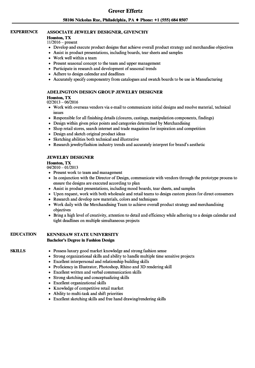 resumes for jewelry cad designers