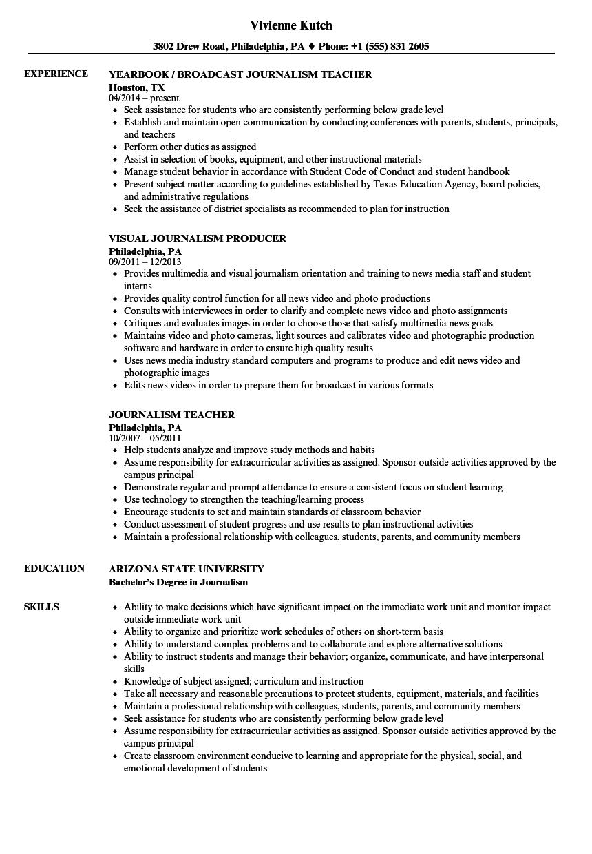 best journalism resume samples