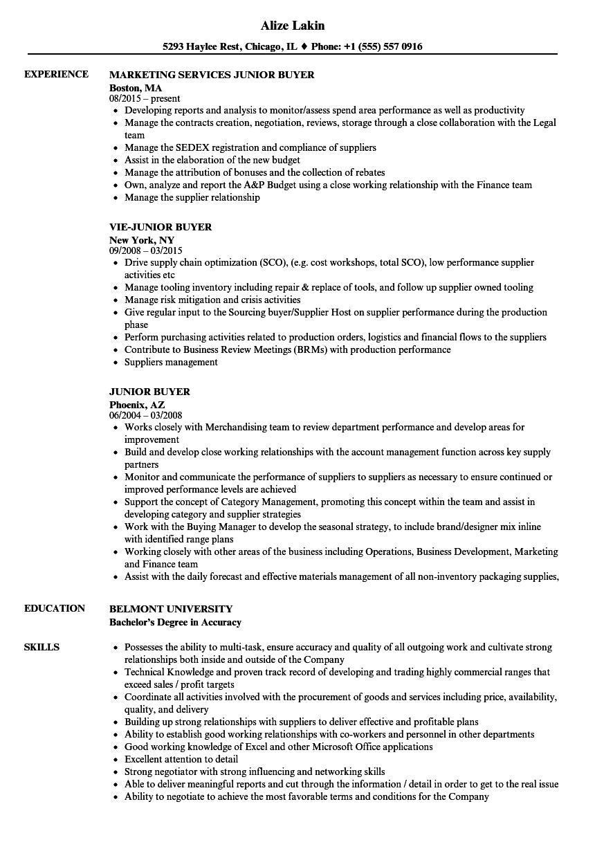 Junior Buyer Resume Samples Velvet Jobs