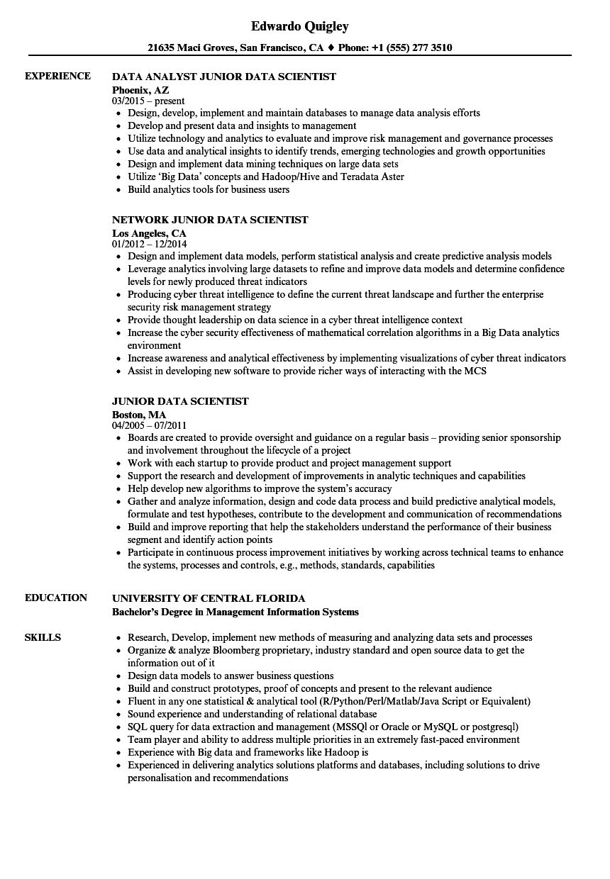 python data analyst resume sample