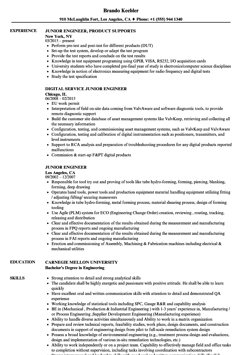 Junior Engineer Resume Samples Velvet Jobs