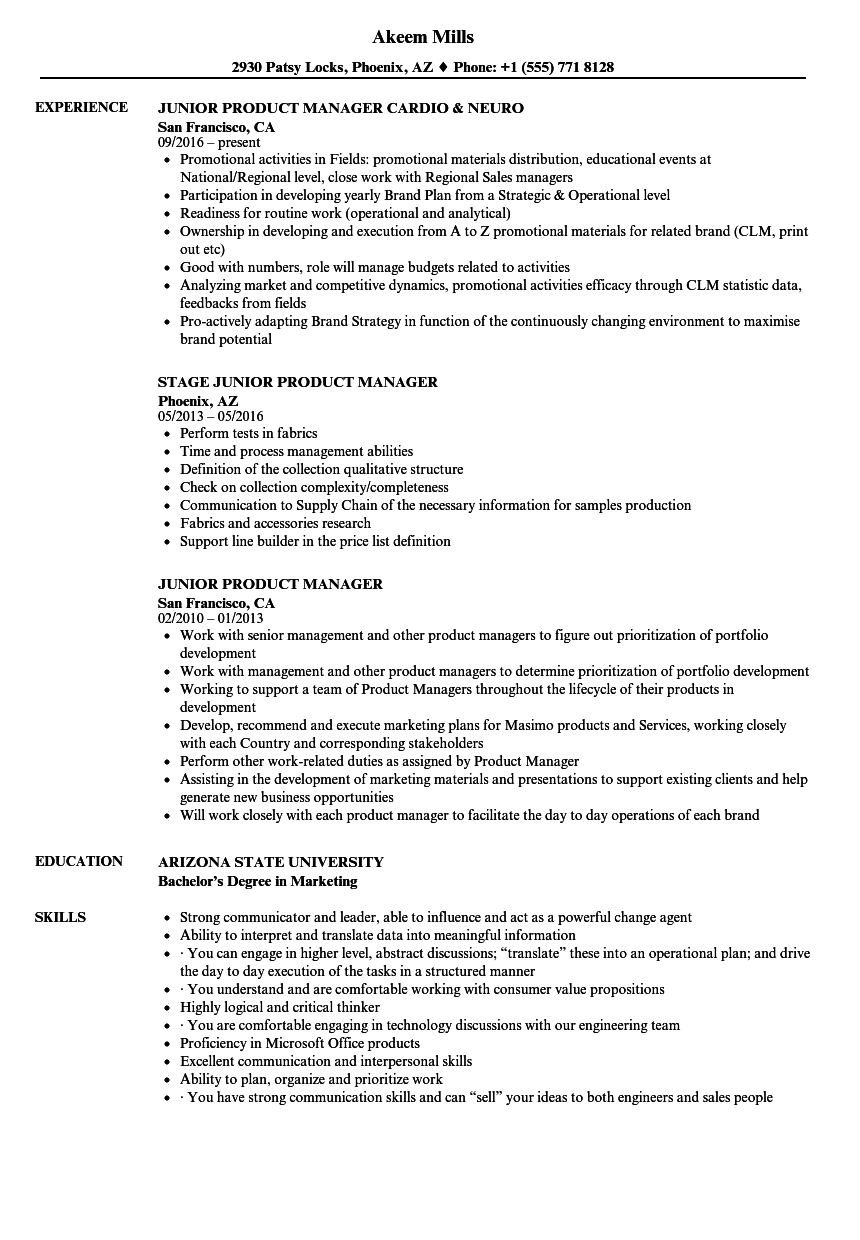Download Junior Product Manager Resume Sample As Image File