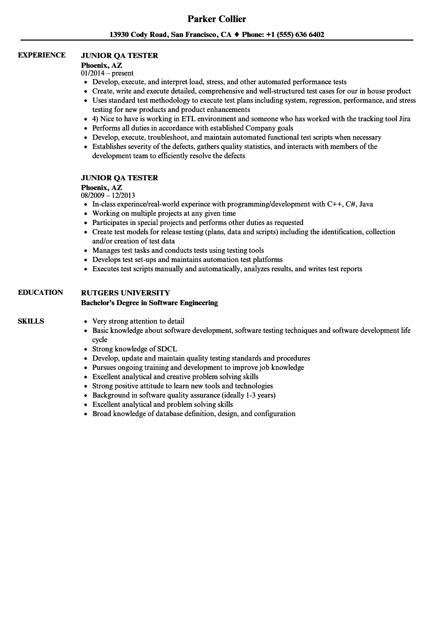 software qa resume samples with no work experience
