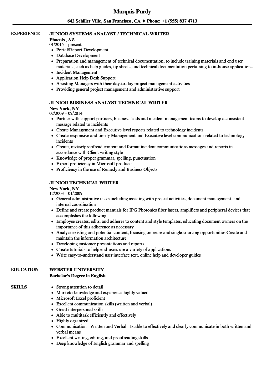 Junior Technical Writer Resume Samples Velvet Jobs