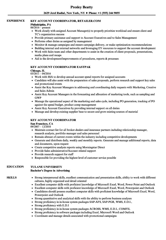 key skills in resume for sales coordinator