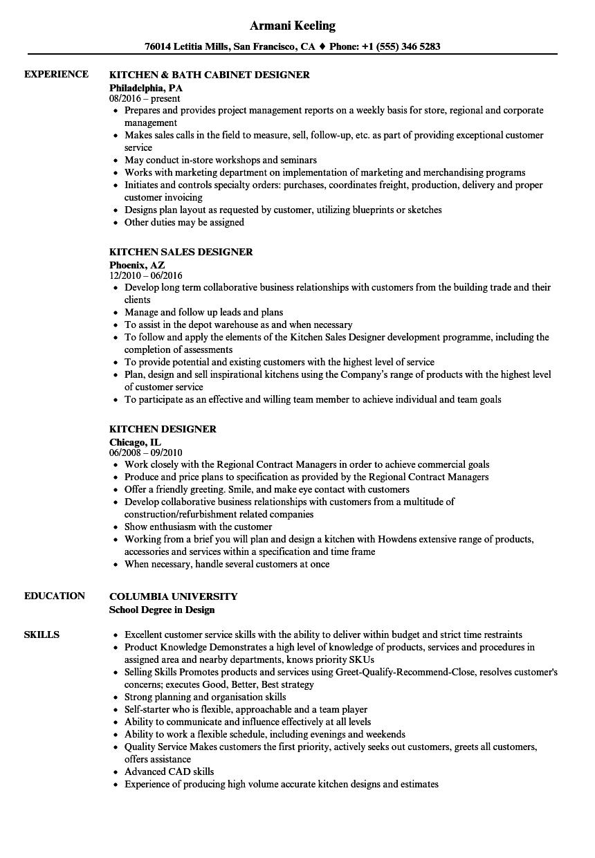 kitchen bath designer resume sample