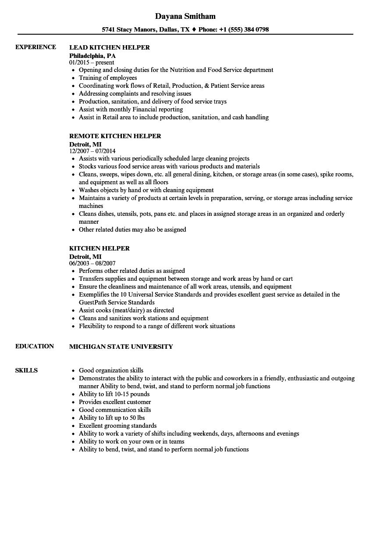 Download Kitchen Helper Resume Sample As Image File