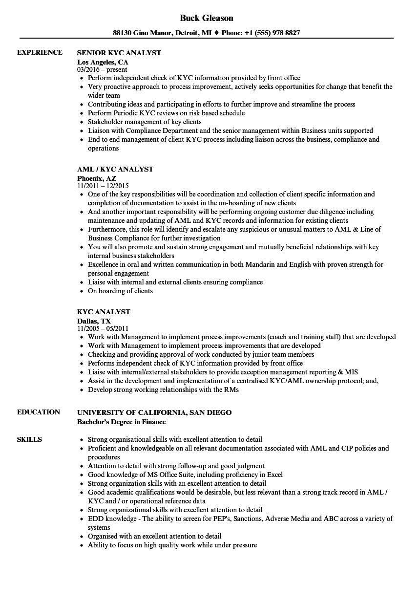 operations analyst resume templates