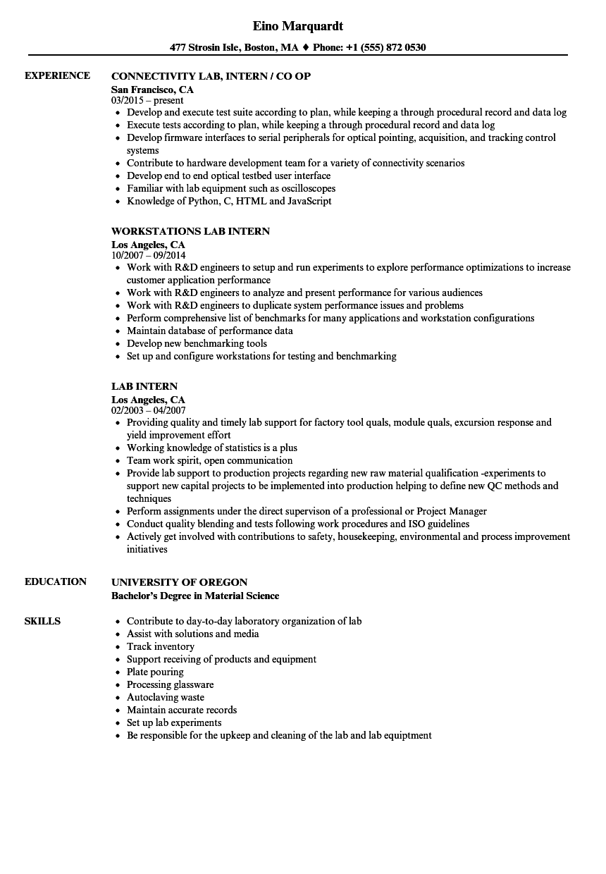 sample resume to apply for lab