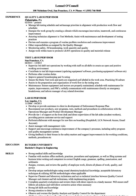 track supervisor sample resume