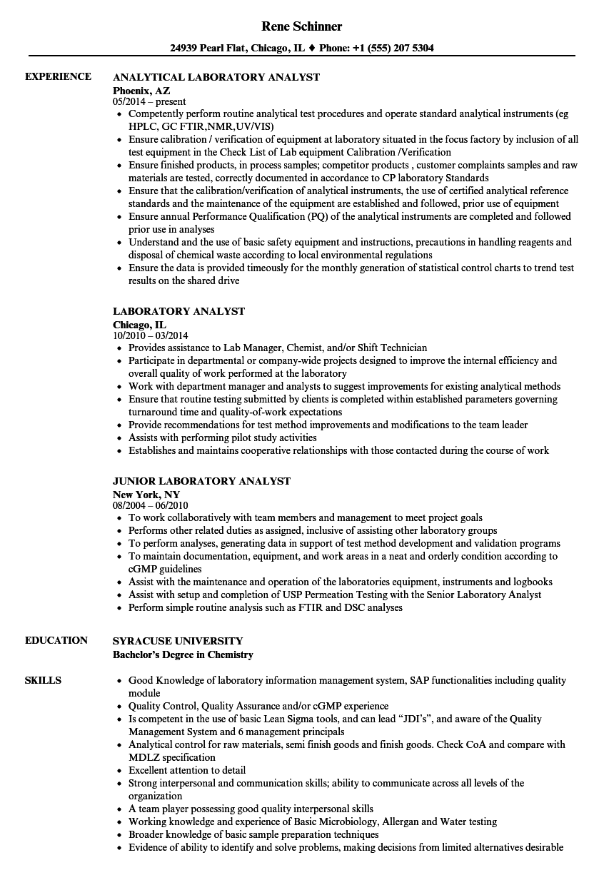 Laboratory Analyst Resume Samples Velvet Jobs