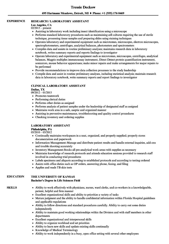 animal lab assistant job resume sample