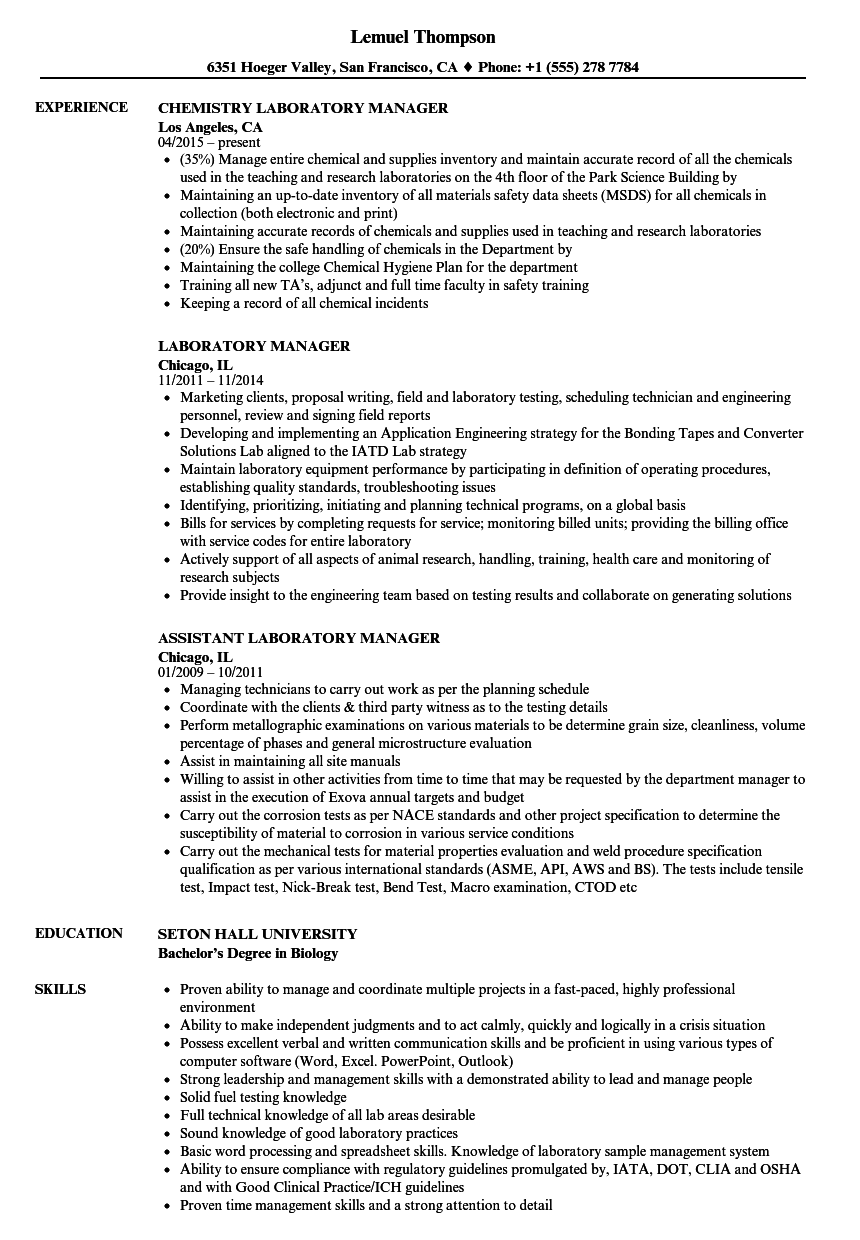 Laboratory Manager Resume Samples Velvet Jobs