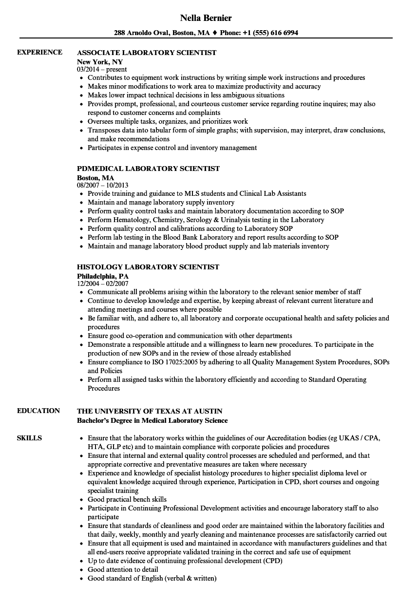Laboratory Scientist Resume Samples Velvet Jobs