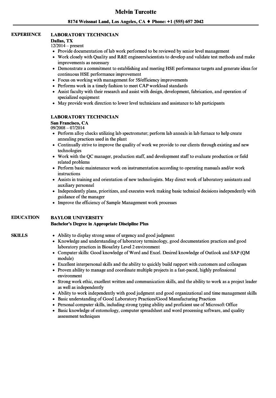 Laboratory Technician Resume Quality Control Technician