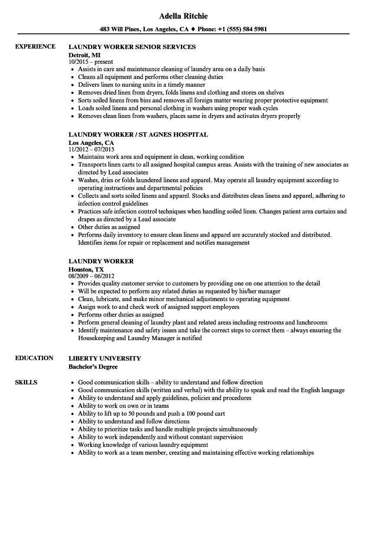 sample resume for laundry worker