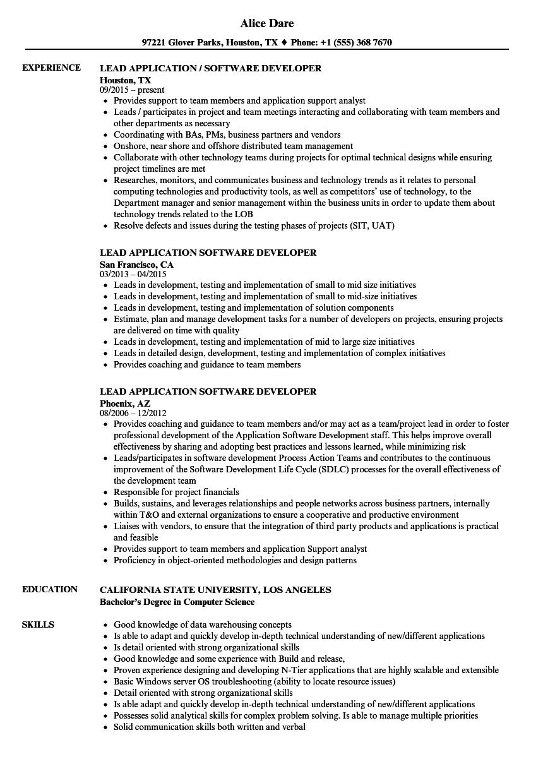 lead developer resume sample