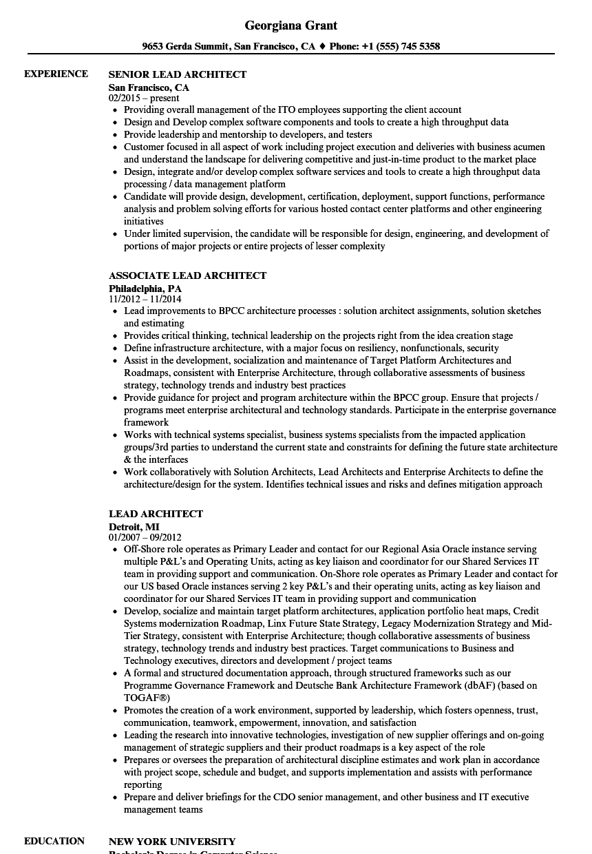 Lead Architect Resume Samples  Velvet Jobs